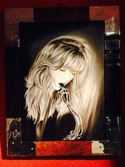 Saxy Laura huile sur toile, Laura avec son saxo sur fond noir.