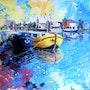 Port de Roanne sur fond abstait. Michel Braillon