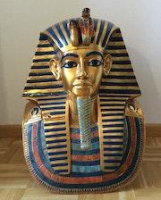 Museums-Replik: Totenmaske des Tutanchamun, Kunstharz & Blattgold, Höhe 52cm!.