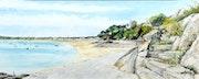 St Cast, marée basse, vue de la promenade.