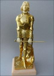 Jeanne d'ARC bronze doré et ivoire.