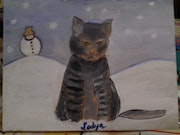 Thé cat in the snow.