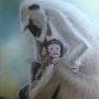 Maman Langur et son rejeton. Michel. Gouyet