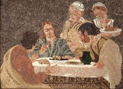 Cena in emmaus - Mosaïque romaine et partiellement byzantine,.