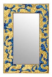 Lofoten miroir en cristal et contour en émaux de verre et tesselle en or. Atelier De Mosaïque d'art Urschel l'artisan