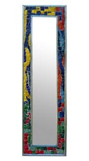 Uppsala miroir cristal contour en émaux de verre et cadre en zing.