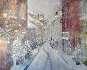 La Grande Rue sous la neige à Marly le Roi.