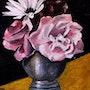Vase en étain avec roses et marguerite. Andre Blanc