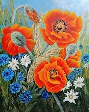 Les pavots rouges de jardin. Marie Colin