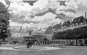 La fontaine de la Place des Vosges. Gérard Baty