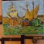 Petit port breton jour de fète au retour des pêcheurs. 1935