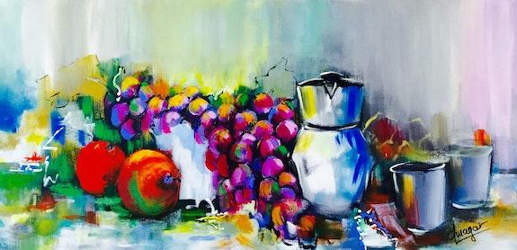 La pause café avec des raisins et des fruits rouges. Amagat Philippe Amagat