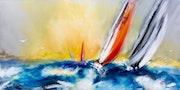 Le duel voilier dans une mer agitée et un ciel orange.