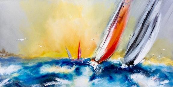 Le duelvoilier dans une mer agitée sur un ciel orange. Amagat Philippe Amagat
