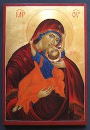 Theotokos Eleusa [Mary Mother of God and baby Jesus]. Marchela Dimitrova