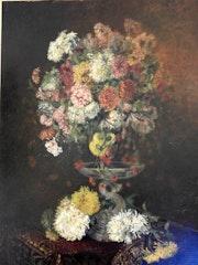 Huile sur toile :bouquet de fleurs sur un entablement signée boulanger.