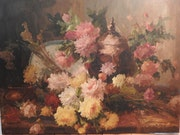 Painting, oil on canvas «flowers» signed M. Harry.