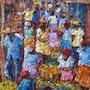 Scène de marché traditionnel. Haitian Art Gallery