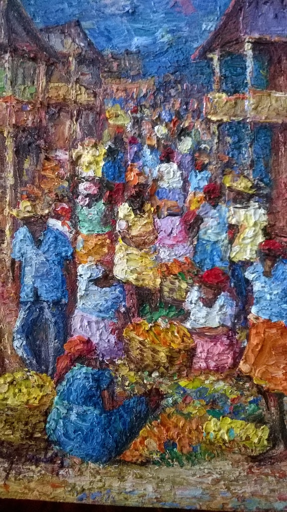Scène de marché traditionnel. Nypeking Jean Baptiste Haitian Art Gallery