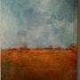 Paysage abstrait 1 Tons gris et ocre jaune, côtés peints. Anne Le Dosseur