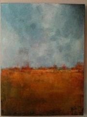 Paysage abstrait 1 Tons gris et ocre jaune, côtés peints.