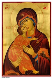 Theotokos Eleusa [Mary Mother of God and baby Jesus] of Vladimir. Nedyalko Dimitrov