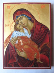 Theotokos Eleusa [Mary Mother of God and baby Jesus]. Nedyalko Dimitrov