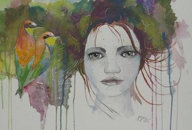 «Ella et les oiseaux» - Aquarelle. Katty Perdriolle