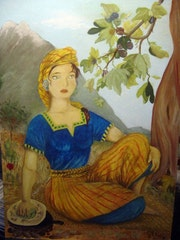 Femme berbere. Artisan Peintre