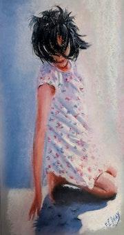 Jeune fille sur la plage.
