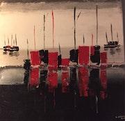 Bateaux en rouge et noir.