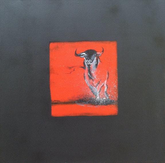 Taureau noir en rouge I. Régine G. Régine Guthmann