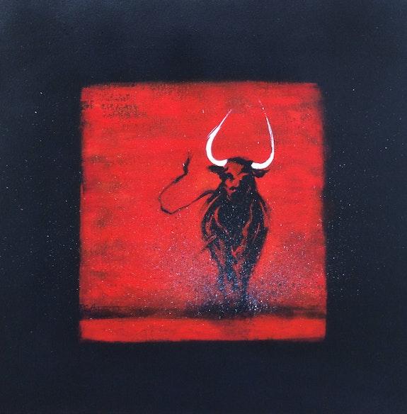 Taureau noir en rouge II. Régine G. Régine Guthmann