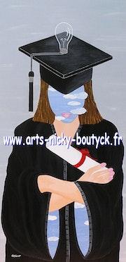 «La Diplômée» peinture suréalime-originale et signée.