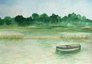Une barque sur son étang.