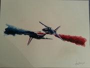Faire face II Solo patrouille de France. Forangeart F. Baldinotti Peintre De l'air