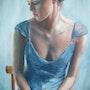 Woman with a blue dress. Debora Calicchia