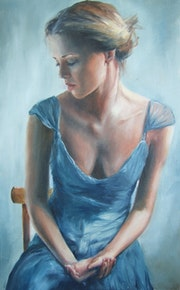 Woman with a blue dress. Debora Calicchia