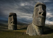 Two Moai sculptures of the Easter Island.. Rainer Mueller Hilmer