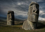 Two Moai sculptures of the Easter Island..
