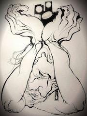 Las manos de un mendigo y una limosna.