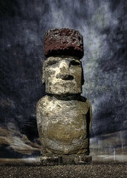 A Moai statue with hat (Pukao) on the Easter Island..
