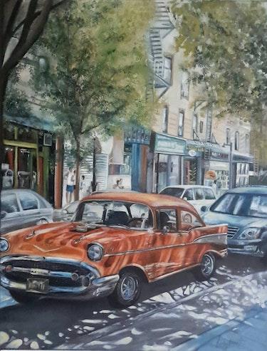 Une Cadillac à New York (huile sur toile de lin 60 X 50). Alfred Lombart