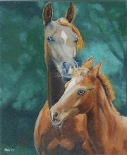 «Jument et poulain» peinture à l'huile au pinceau sur toile de lin. Nad'ev