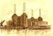 Battersea Power Station Sepia Tone Print.