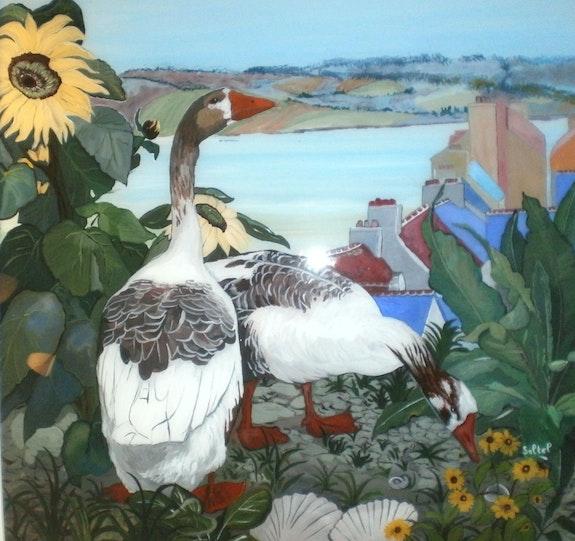 Peinture sous verre. Annie Saltel Annie Saltel