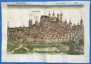 Doppelseitige Stadtansicht Nürnberg, Schedel Weltchronik 1493, koloriert!.