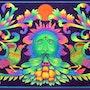 'Green Man'- Inspired by a mural in an Ibizan church. Brahma Templeman