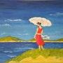 «Sous l'Ombrelle» huile au pinceau sur toile de lin. Nad'ev