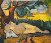 «Le repos» huile au pinceau sur toile de lin. Nad'ev